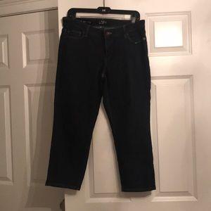 Barely worn dark denim Loft Crop size 10